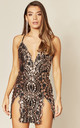NO LIMIT BLACK GOLD SEQUIN MINI SLIT DRESS by Nazz Collection
