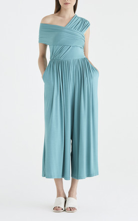Divine Wrap Jumpsuit in Teal by Paisie