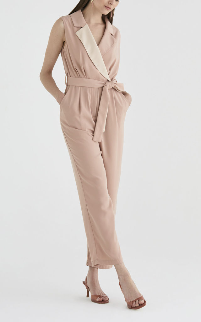 Olympus Tuxedo Jumpsuit in Light Rose and Beige by Paisie