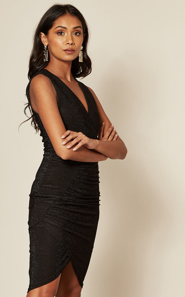 Black Metallic Sleeveless Ruched Dress by Skirt and Stiletto