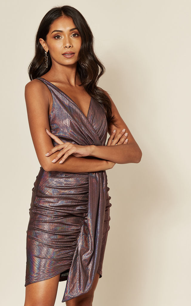 Purple Ruched Mini Dress with Front Panel by Skirt and Stiletto
