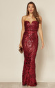 Kenza Berry Strapless Sequin Maxi Dress by Nazz Collection