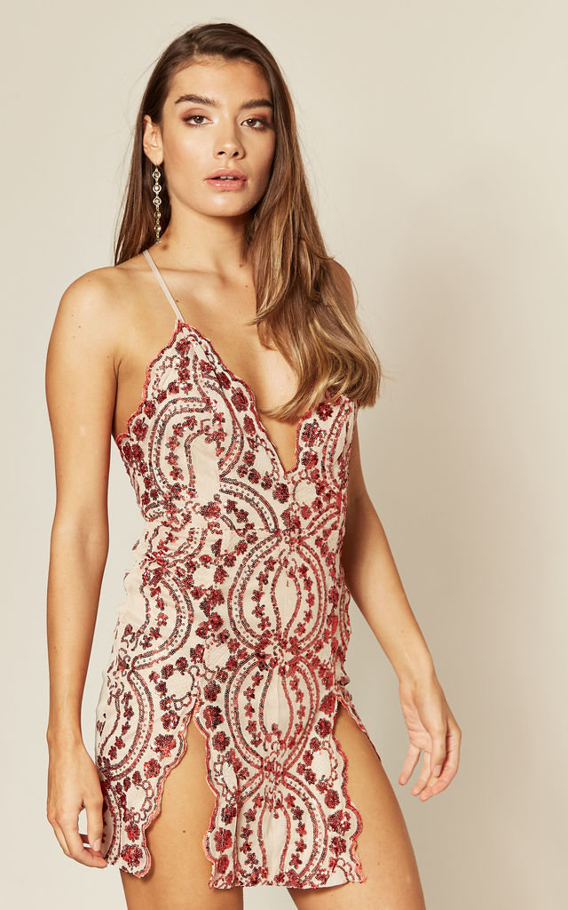 NO LIMIT RED/NUDE SEQUIN MINI DRESS by Nazz Collection