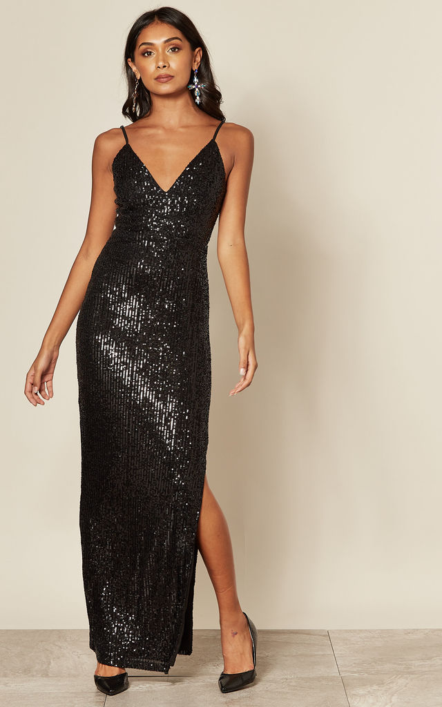 Black Sequin Cami Maxi Dress by Skirt and Stiletto
