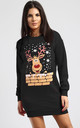 Matilda Christmas Reindeer On Wall Print Sweatshirt Mini Dress In Black by Oops Fashion