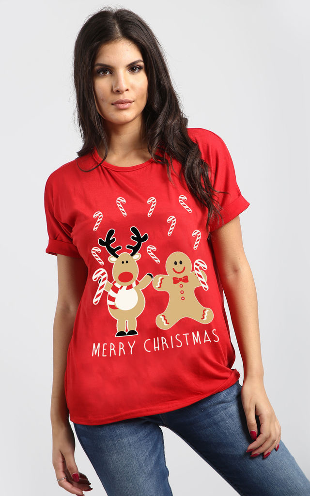 Clara Christmas Reindeer Print Baggy T shirt In Red by Oops Fashion