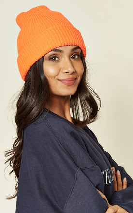 Orange Knitted Beanie Hat by Emily & Me