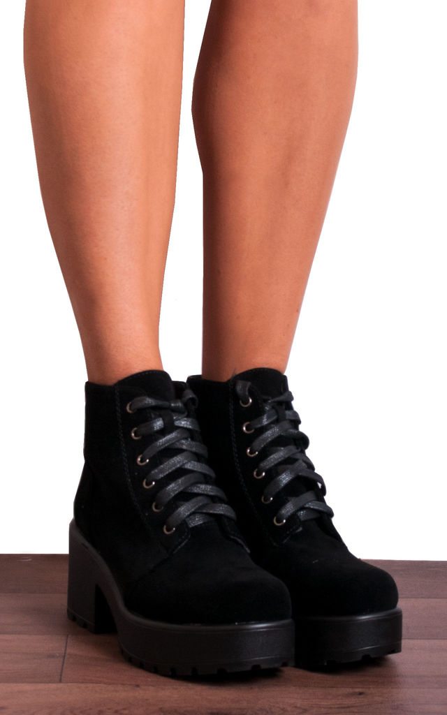 Black Faux Suede Lace Ups Cleated Platforms Ankle Boots by Shoe Closet