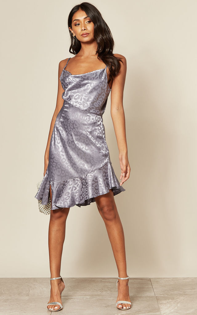 Cami Cowl Neck Mini Dress in Silver Leopard by Another Look