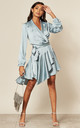 Silky Wrap Dress in Duck Egg Blue by Another Look