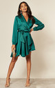 Silky Wrap Dress in Forest Green by Another Look