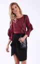 Red panther 3/4 sleeves frill top by Bergamo