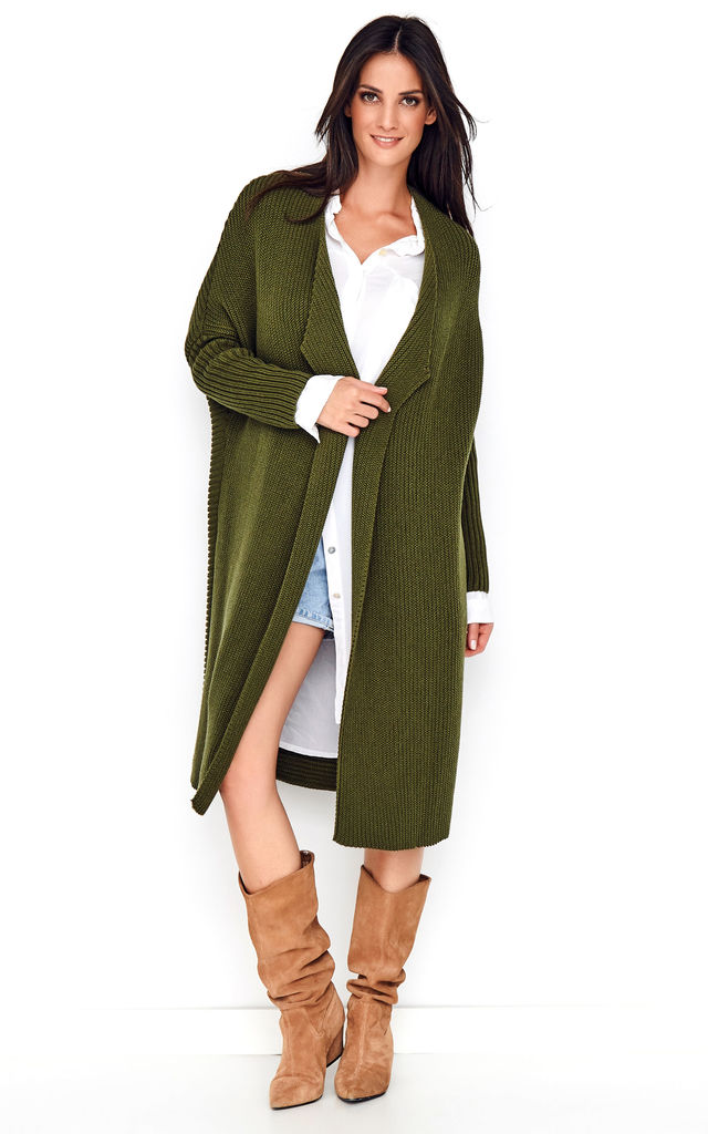 Long Khaki Cardigan by Makadamia