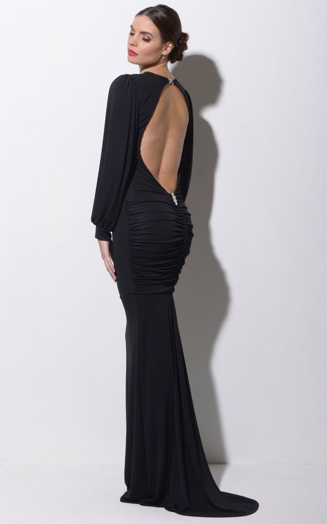 Stella Black Backless Maxi Dress by Honor Gold