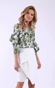 Green leaves 3/4 sleeves frill top by Bergamo