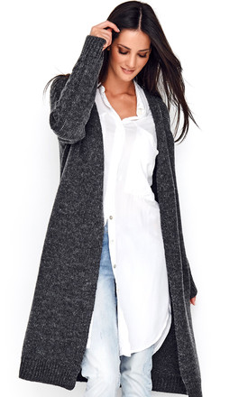 Dark Grey Cardigan with Braid Detail by Makadamia