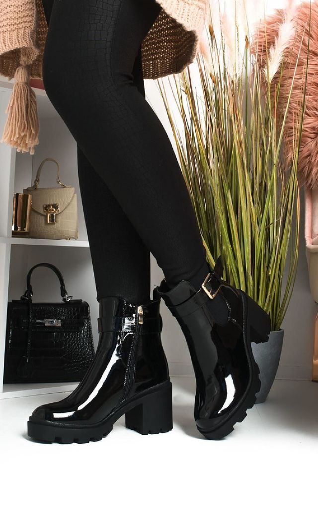 Yasmin Black Patent Heeled Ankle Boots by IKRUSH