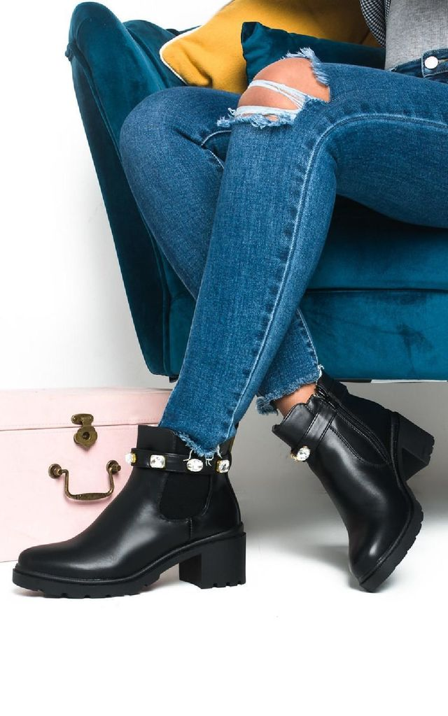 Tina Jewelled Chelsea Ankle Boots by IKRUSH
