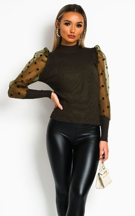 Layla Sheer sleeve Jumper in Green by IKRUSH