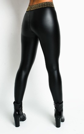 Lilly Wet Look High Waist Trousers in Black by IKRUSH