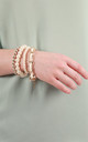Cream Mother Of Pearl Stretch Bracelet by Emi Jewellery