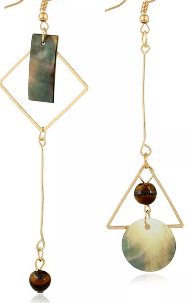 Abalone resin gold geometric irregular earrings by Lovelock jewels