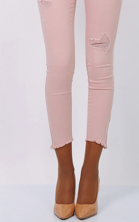 Pink Ripped High Waist Skinny Jeans by FreeSpirits