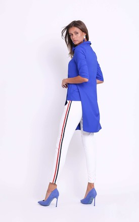 Blue 3/4 sleeves front pocket long shirt by Bergamo
