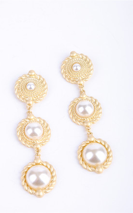 The Jaipur Gold Pearl Rope Earrings by Brunch Club Girls. Product photo