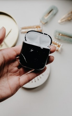 Black Marble Apple Airpod Case by Ajouter Store
