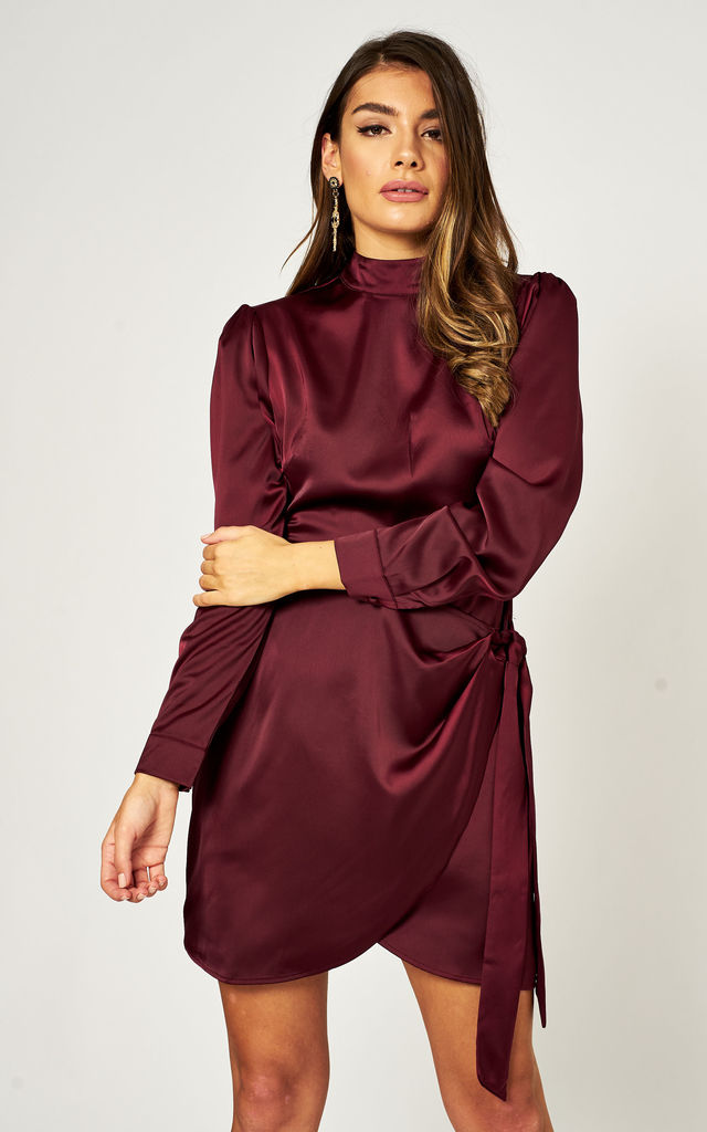 Long Sleeve High Neck Mini Dress in Red by Gini London