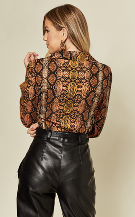 Rust Snake Print Plunge Bodysuit by MISSTRUTH