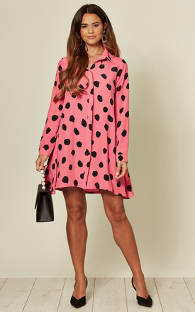 Printed Long Sleeve Shirt Dress Pink And Black Spot by Glamorous Product photo