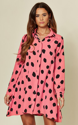 Printed Long Sleeve Shirt Dress Pink and Black Spot by Glamorous