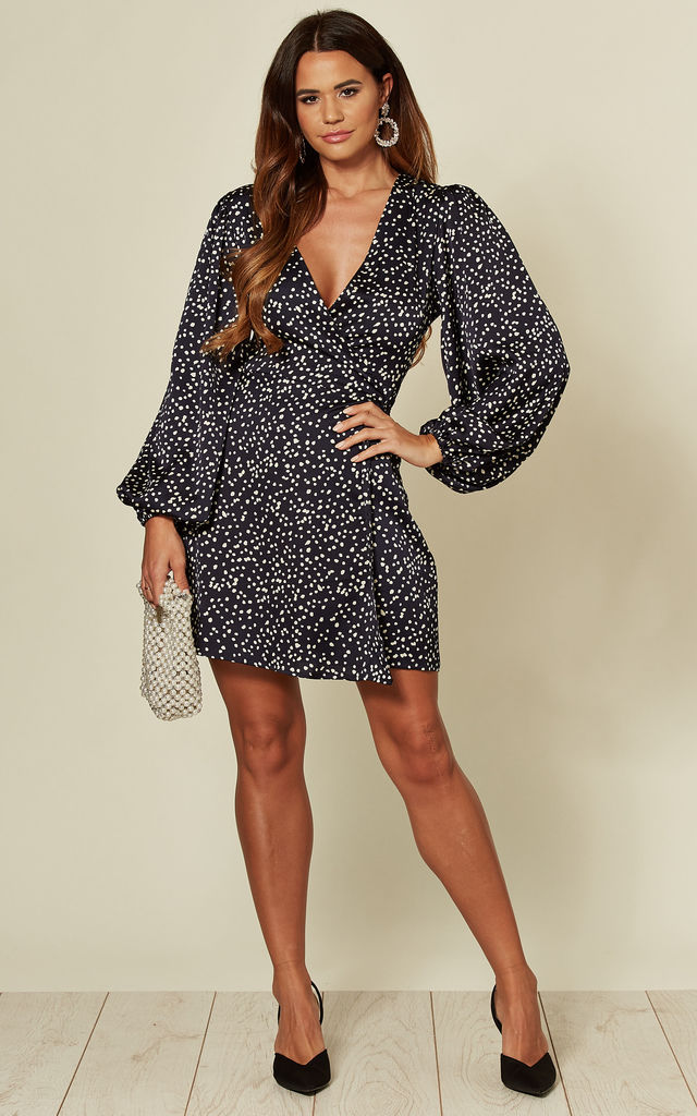 Long Sleeve Wrap Dress in Navy Polka dot by Glamorous