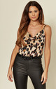 Cowl Neck Cami Top in Leopard Print by FS Collection