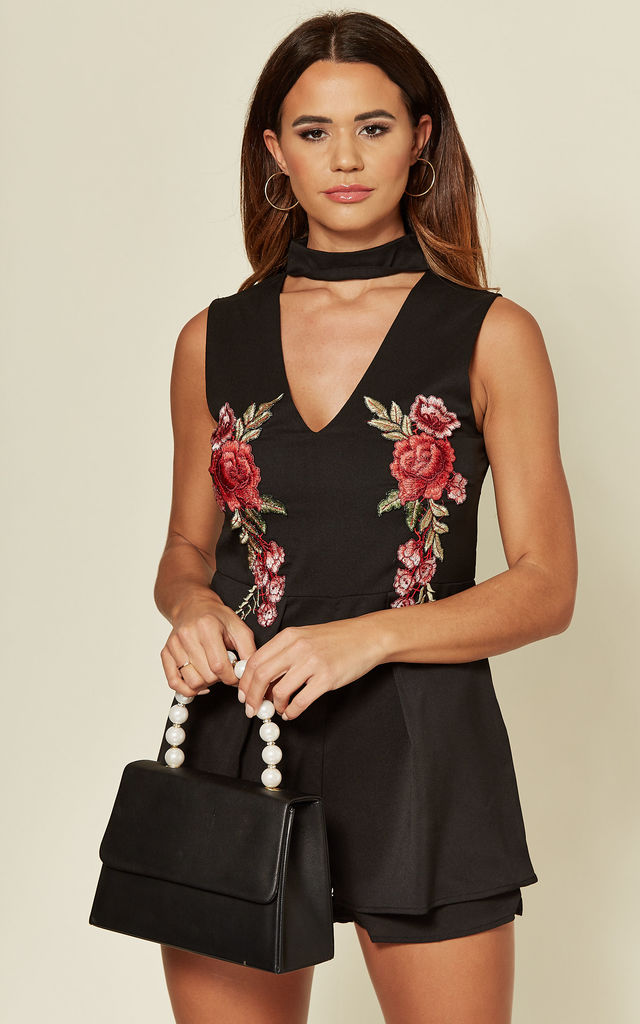 Black Cut Out Choker Playsuit with Floral Embroidery by FS Collection