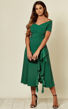Exclusive Bardot Off Shoulder Frill Dress Emerald Green by Feverfish Product photo