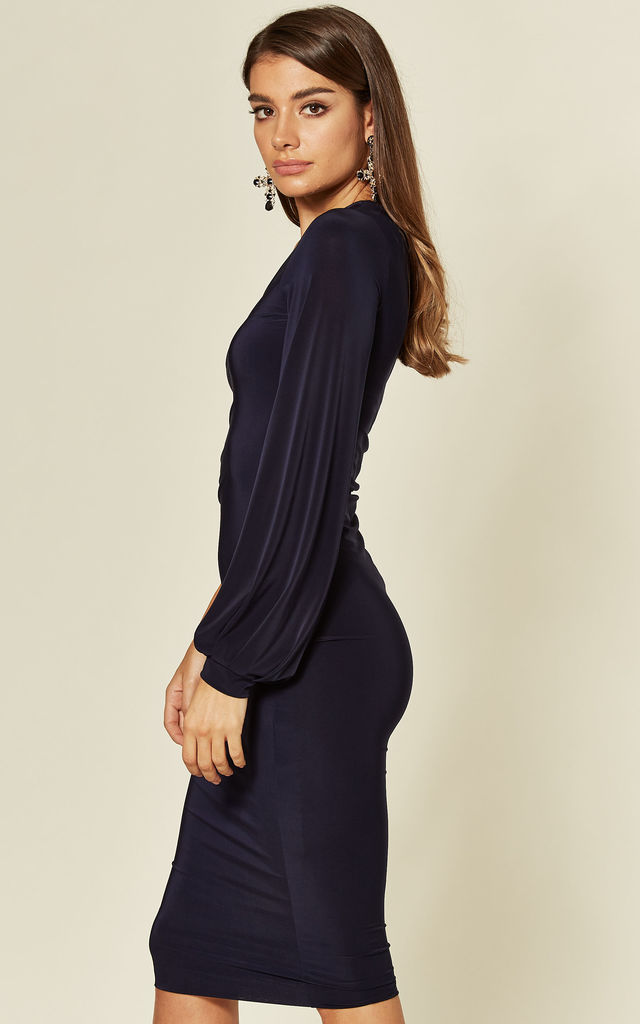 Jessica Navy One Shoulder Midi Dress with Balloon Sleeve by Pleat Boutique
