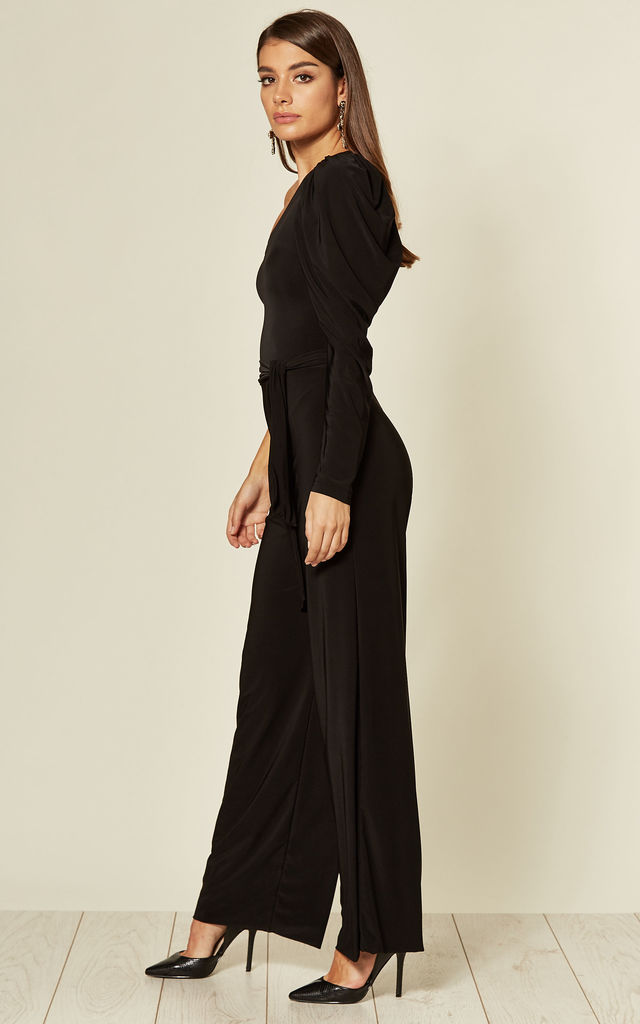 Black Quinn One Shoulder Puff Sleeve Jumpsuit with tie belt by Pleat Boutique