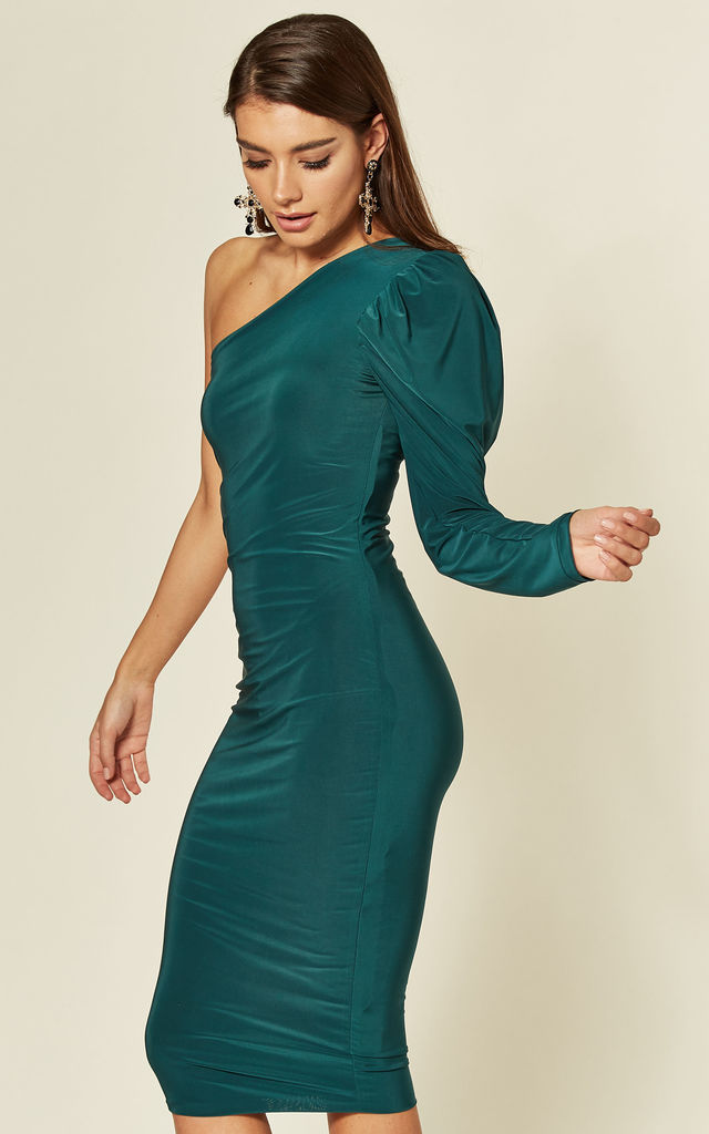 Violet Emerald Green One Shoulder Midi Dress with Puff Sleeve by Pleat Boutique