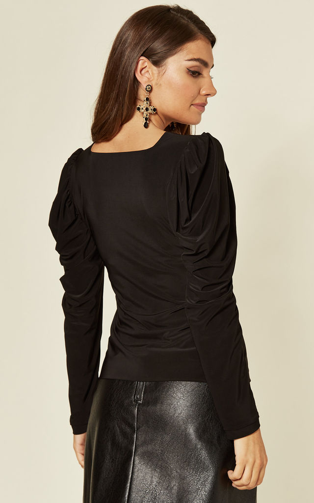 Elena Puff Shoulder Long Sleeve Top in Black by Pleat Boutique