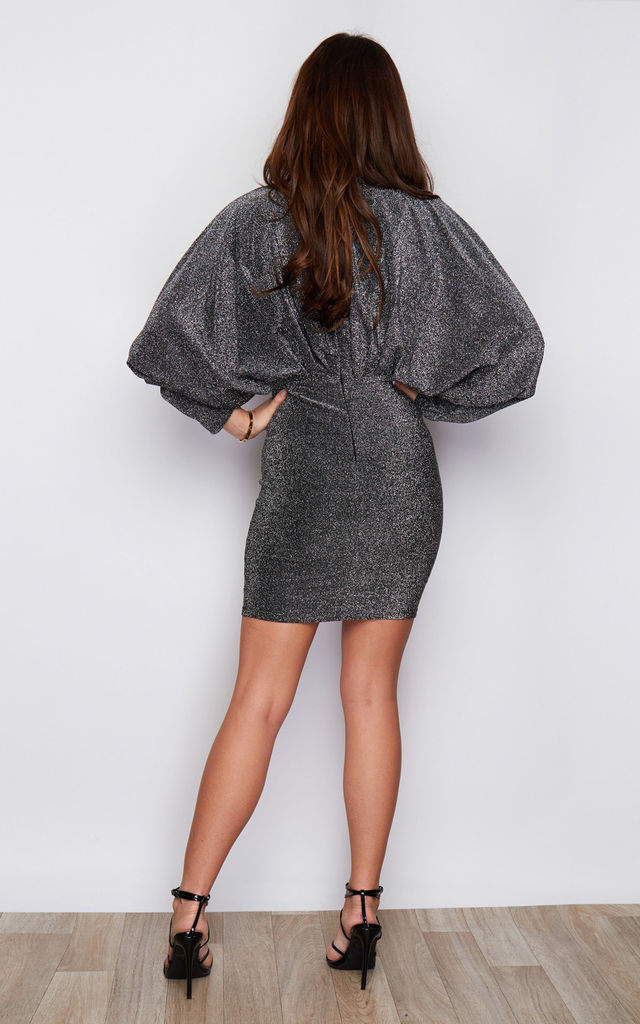 Fame Lurex Batwing Long Sleeves Mini Dress Silver by Girl In Mind
