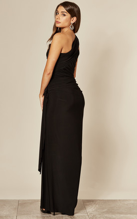 Amy One Shoulder Maxi Dress Black by Revie London