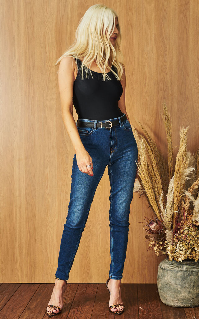 Slim Fit Denim Jeans in Medium Blue by Pieces