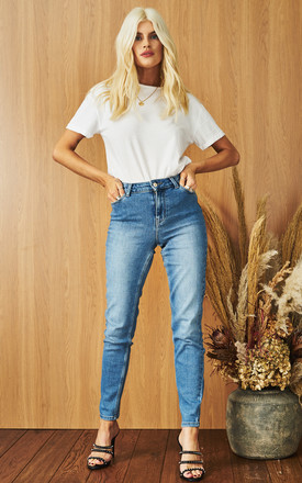 Mid Rise Slim Denim Jeans In Light Blue by Pieces Product photo