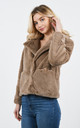 Brown Faux Fur Teddy Coat With Lapel and Jetted Pockets by Lucy Sparks