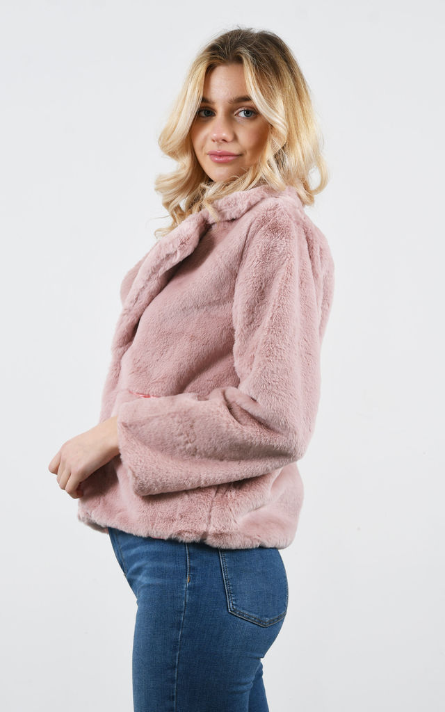 Pink Faux Fur Teddy Coat With Lapel and Jetted Pockets by Lucy Sparks