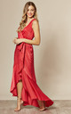 Wrap Front Maxi Dress In Candy Red by FLOUNCE LONDON
