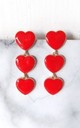 Red Heart Three Tier Earrings by Olivia Divine Jewellery